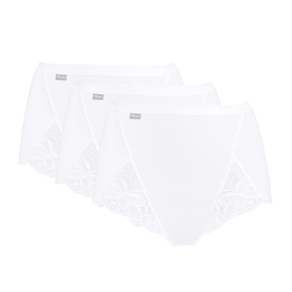 Pacco da 3 Slip Maxi bianchi - Cotone e Pizzo, , PLAYTEX