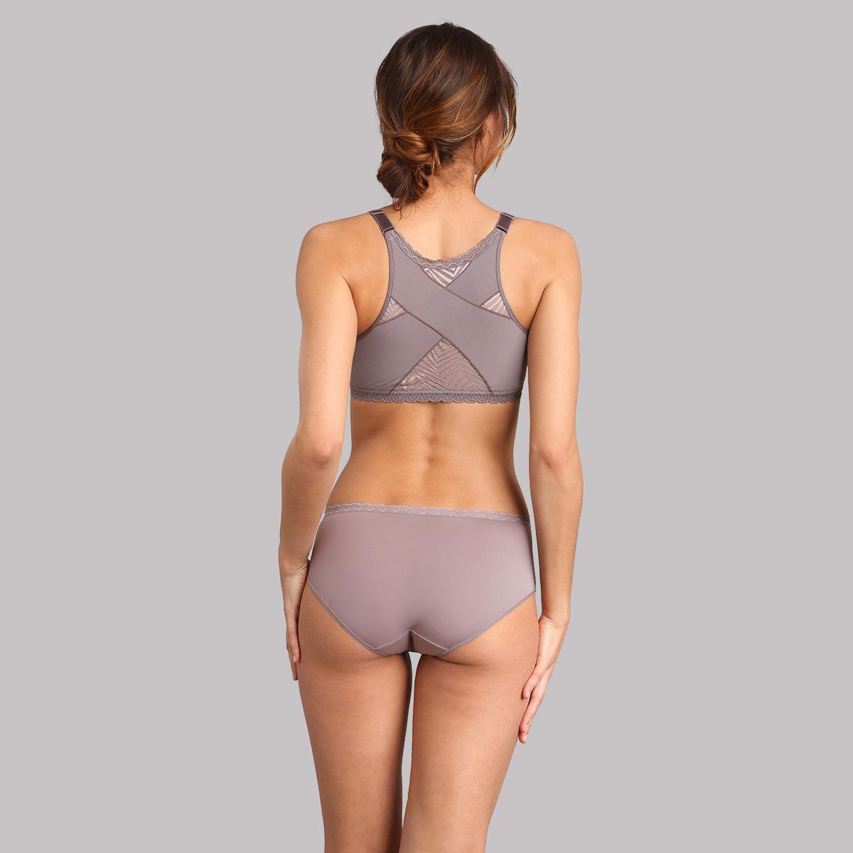 Reggiseno senza ferretto aperto davanti grigio talpa Ideal Posture, , PLAYTEX