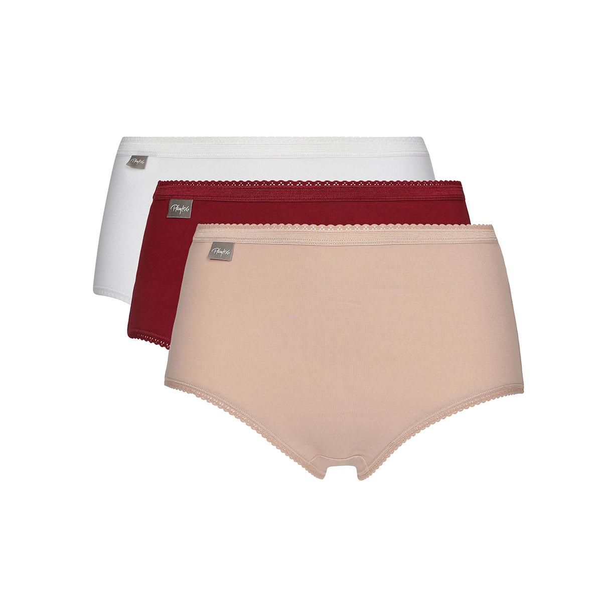 Pacco da 3 slip midi rosso, bianco e beige Cotton Stretch, , PLAYTEX