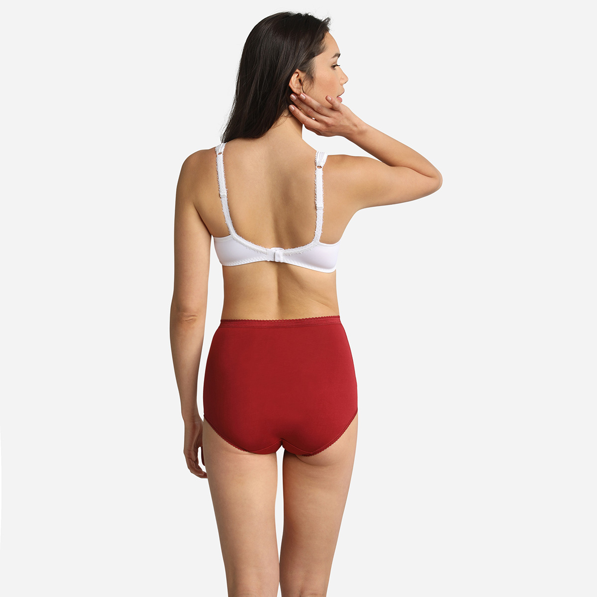 Pacco da 3 slip vita alta rosso, bianco e beige Cotton Stretch, , PLAYTEX