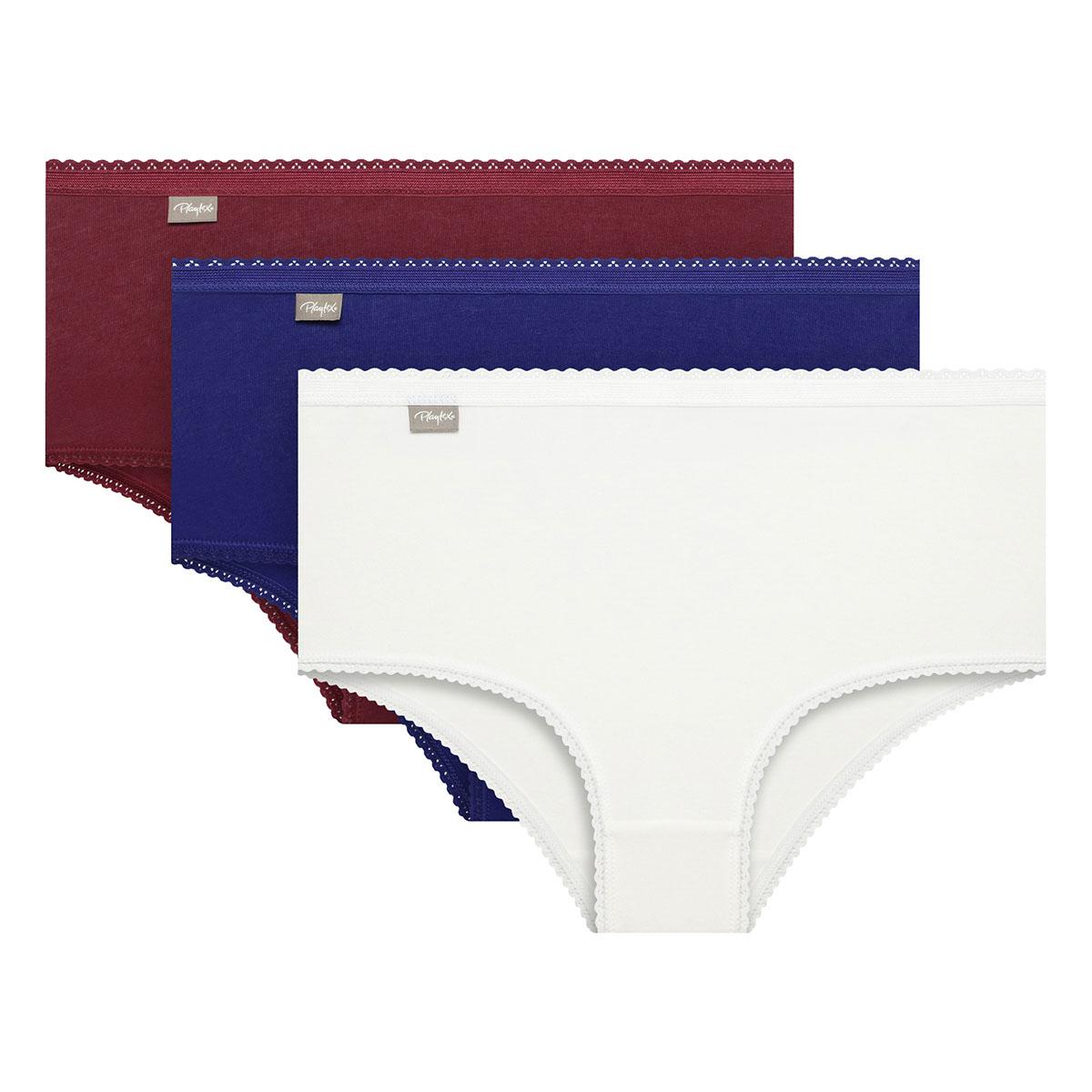 Pacco da 3 slip midi bianco, rosso intenso e blu intenso Cotone Elasticizzato , , PLAYTEX