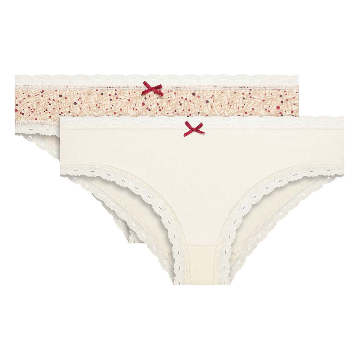 Pacco da 2 Slip beige e stampa ciliegie Cotton Fancy, , PLAYTEX