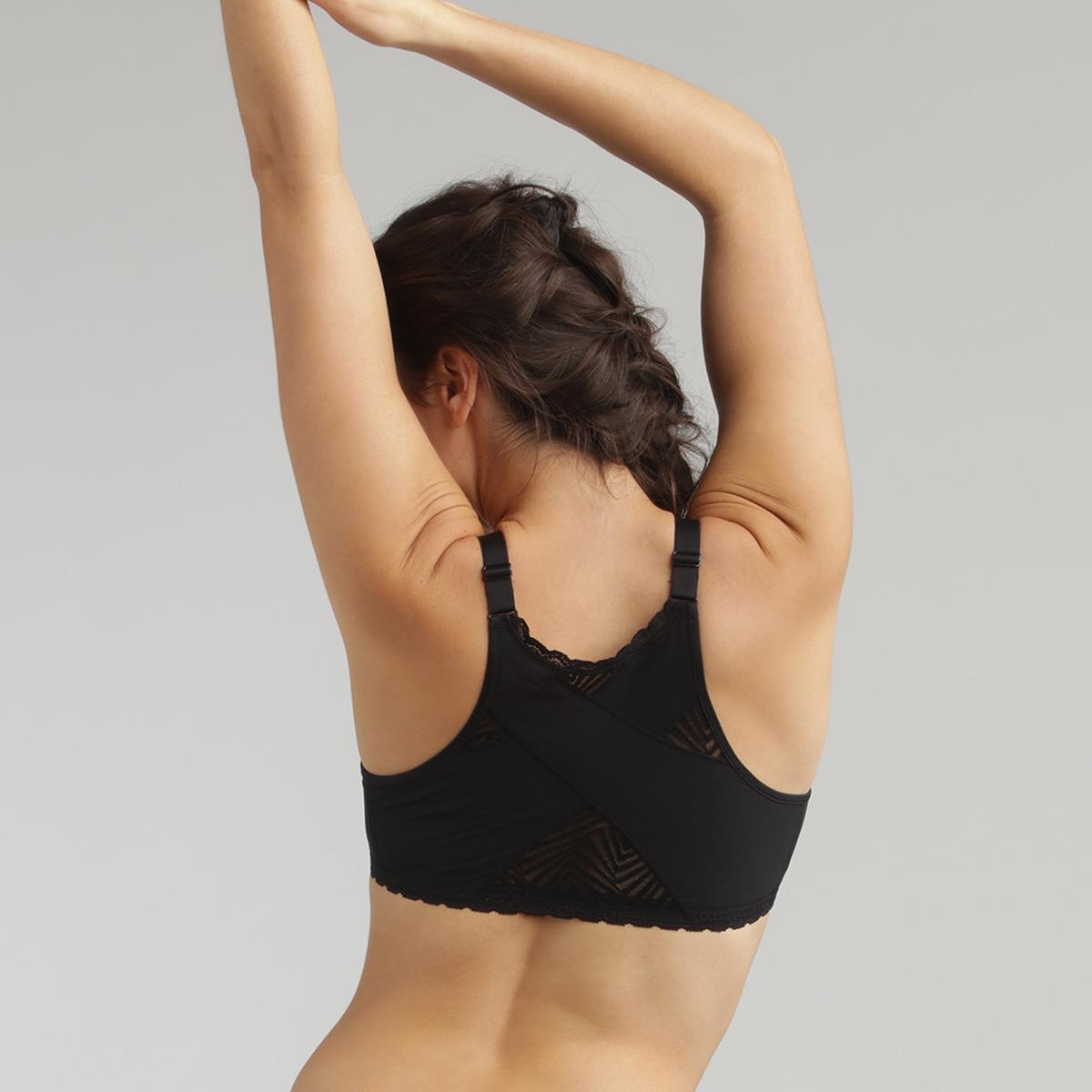 Reggiseno senza ferretto aperto davanti nero Ideal Posture, , PLAYTEX