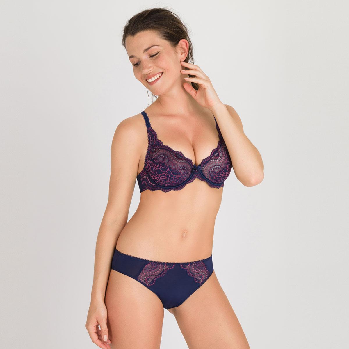 Reggiseno con ferretto blu e viola - Flowery Lace - PLAYTEX