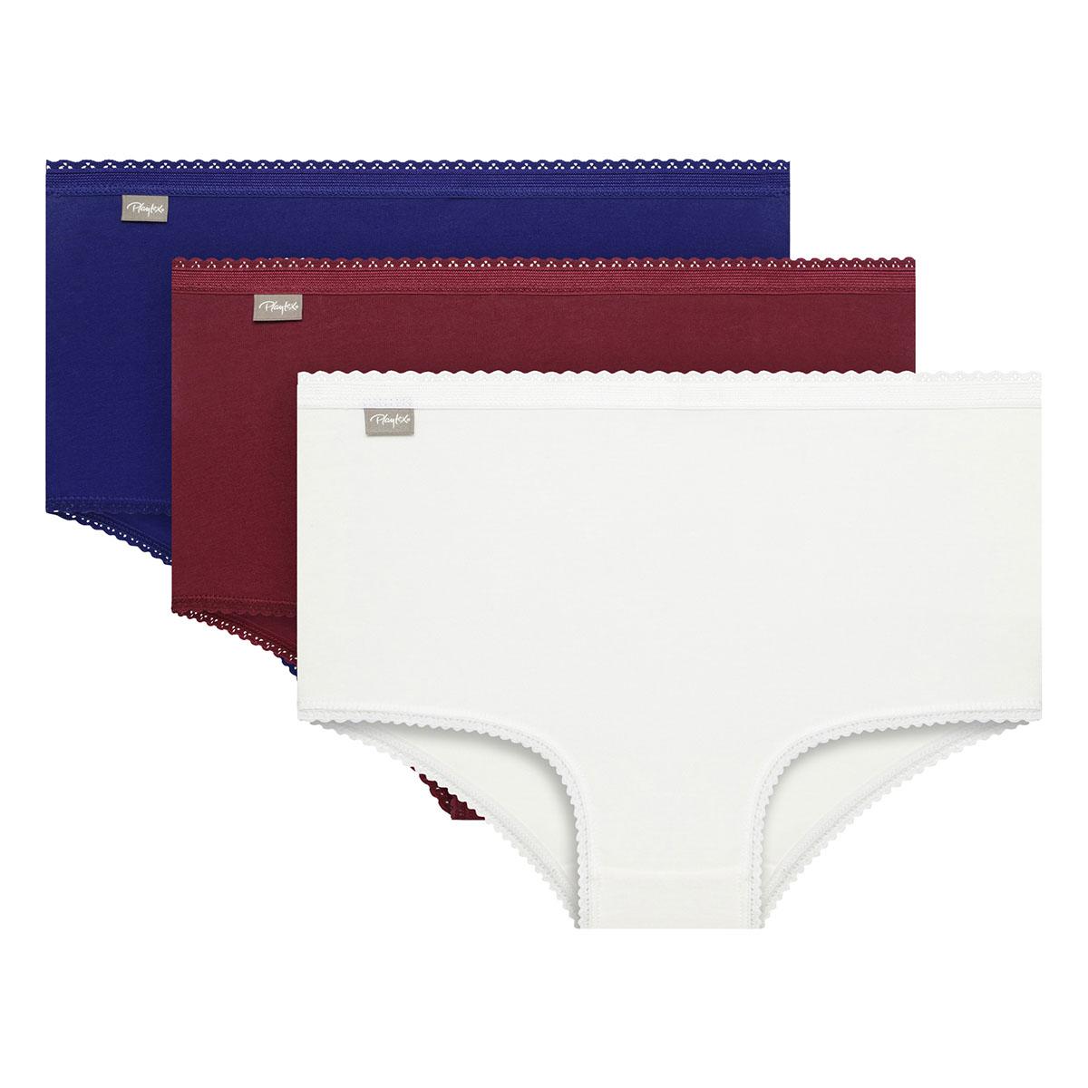Pacco da 3 slip maxi bianco, rosso intenso e blu intenso Cotone Elasticizzato, , PLAYTEX