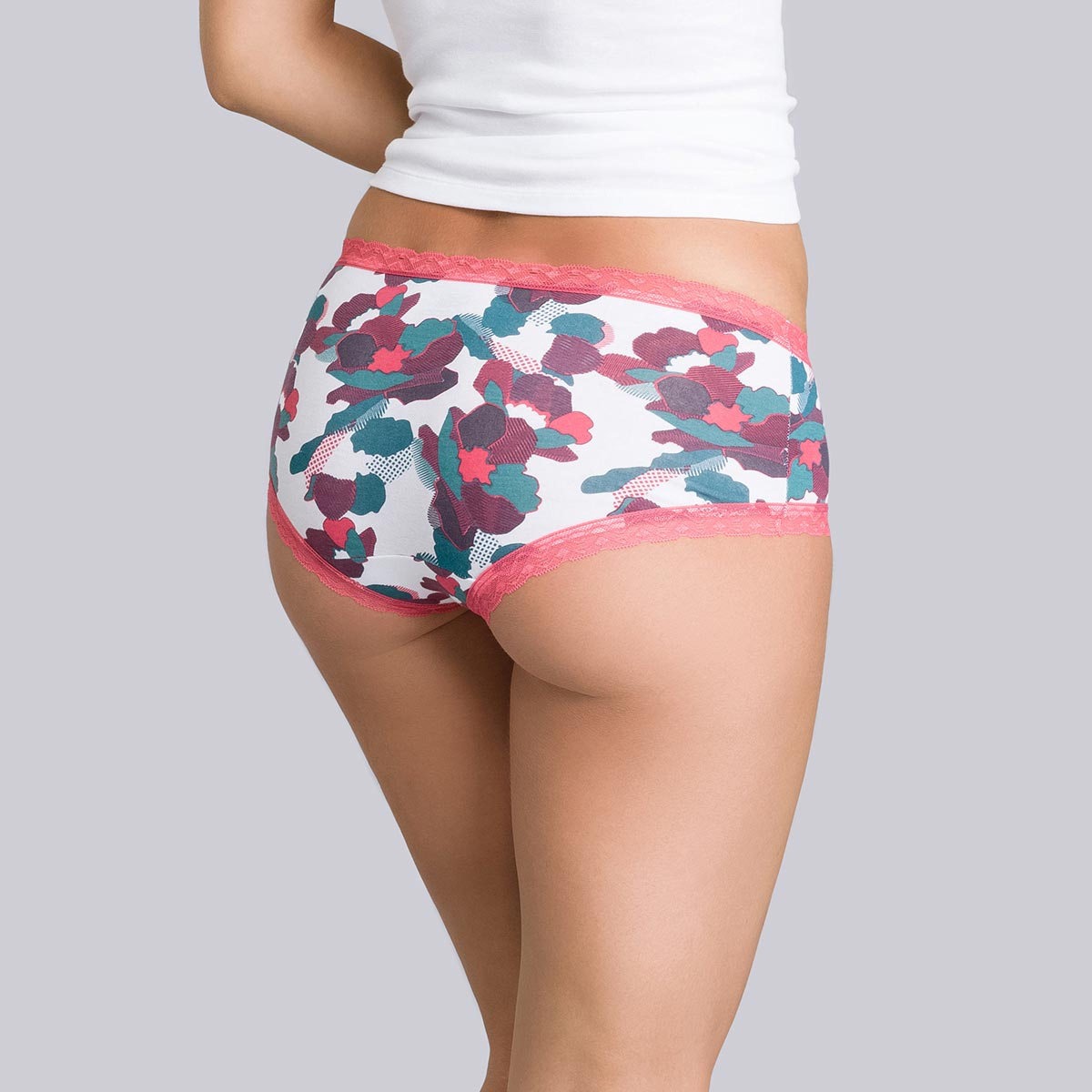 2 shorties corail et imprimé fleuri - Coton Fancy-PLAYTEX