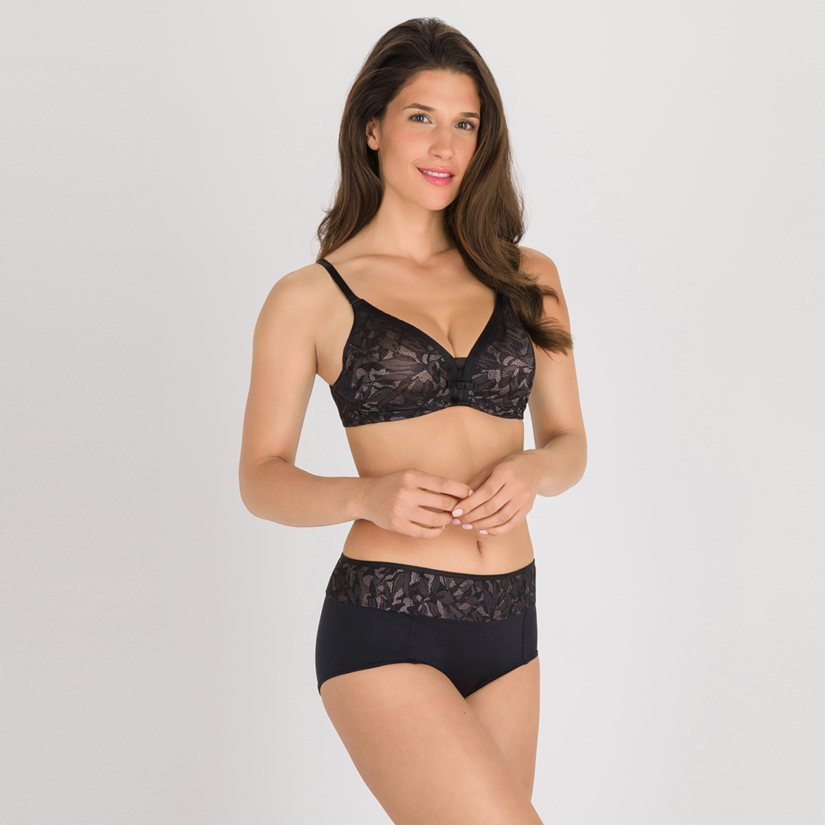 Reggiseno con ferretto nero e grigio - Ideal Beauty Lace, , PLAYTEX