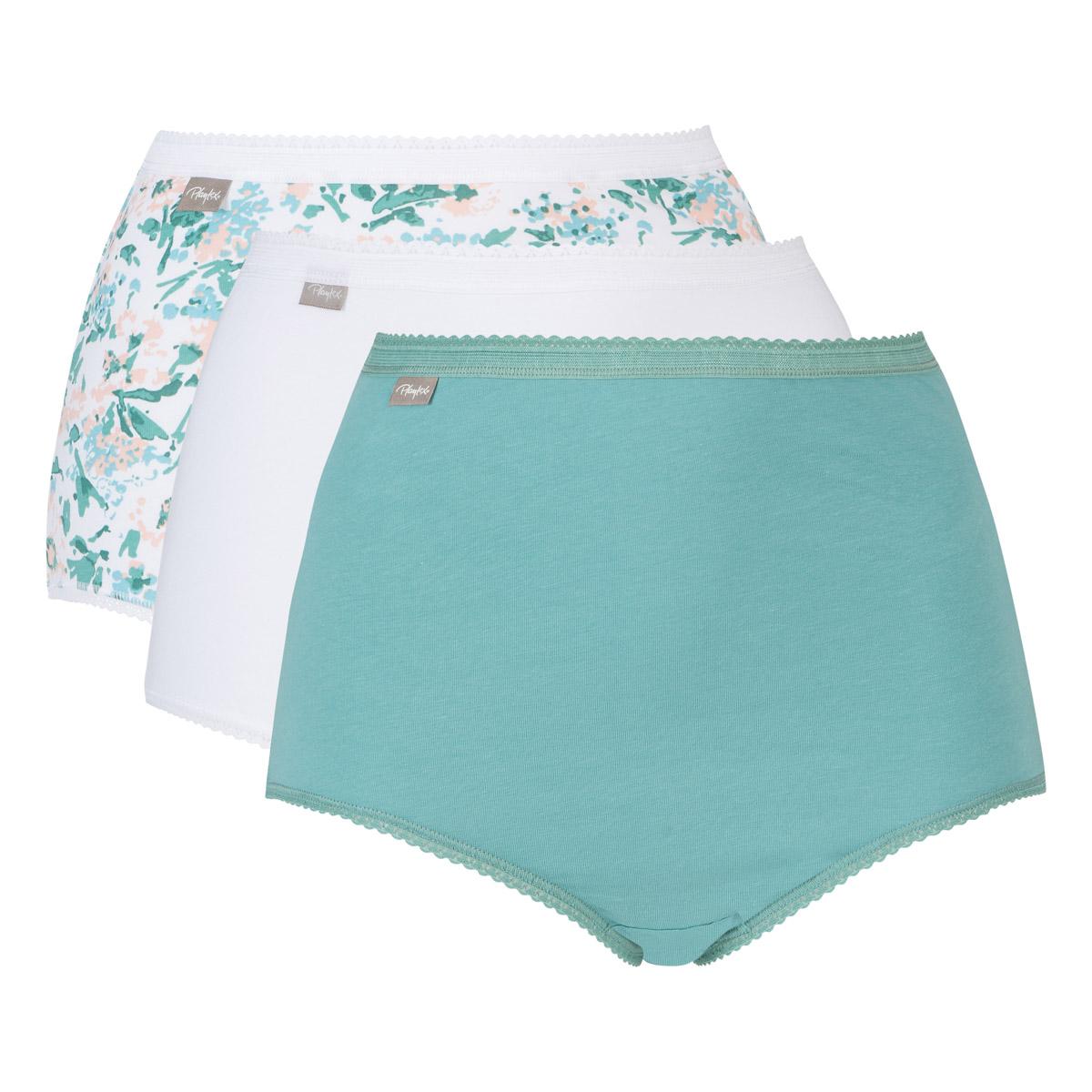 Pacco da 3 slip maxi vita alta bianco, verde, stampa fiori Cotone Elasticizzato, , PLAYTEX
