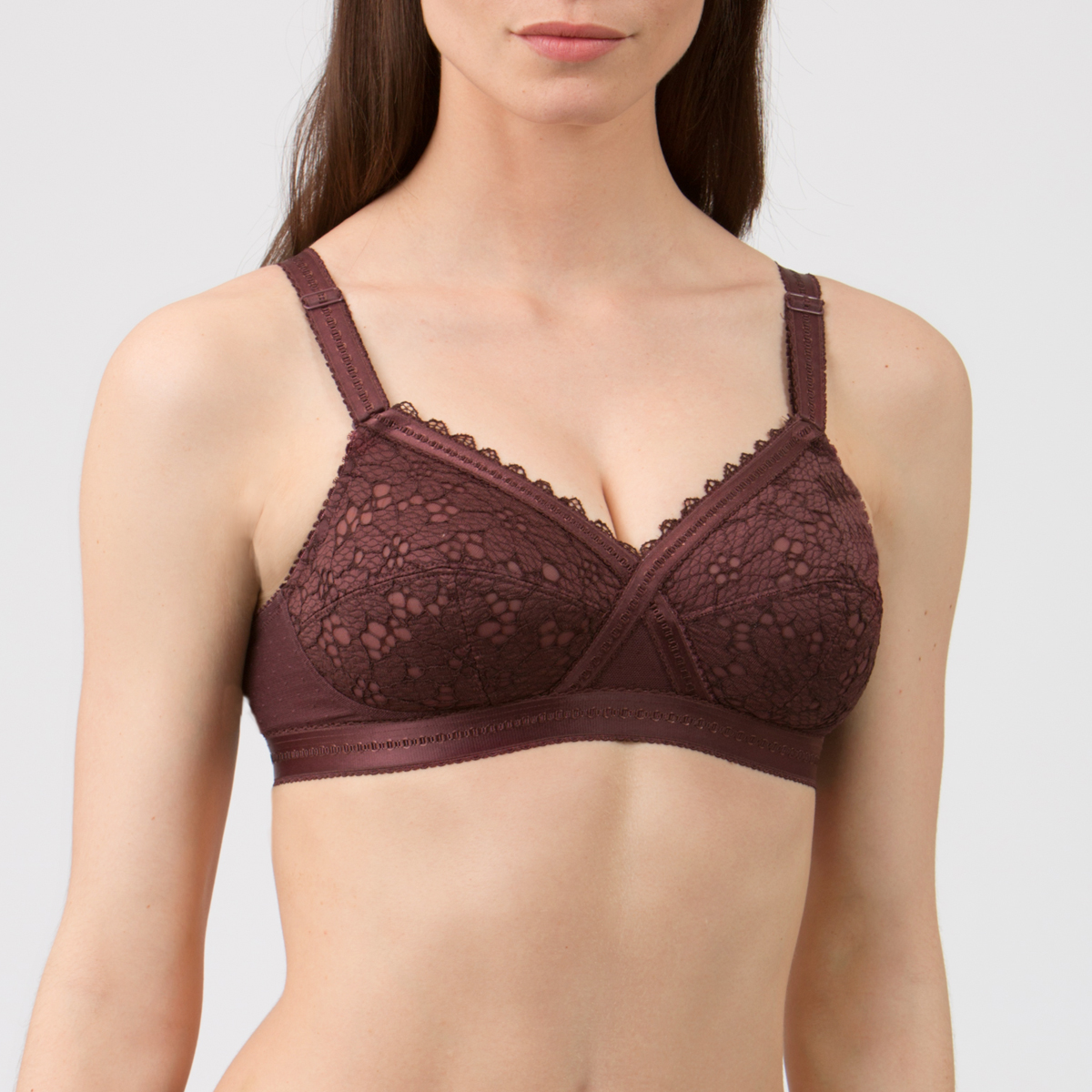 Reggiseno senza ferretto marrone - Criss Cross Pizzo - PLAYTEX