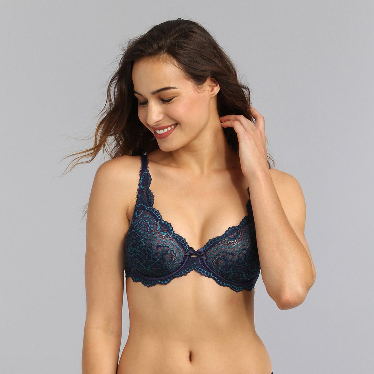 Reggiseno con ferretto blu marino Flowery Lace, , PLAYTEX