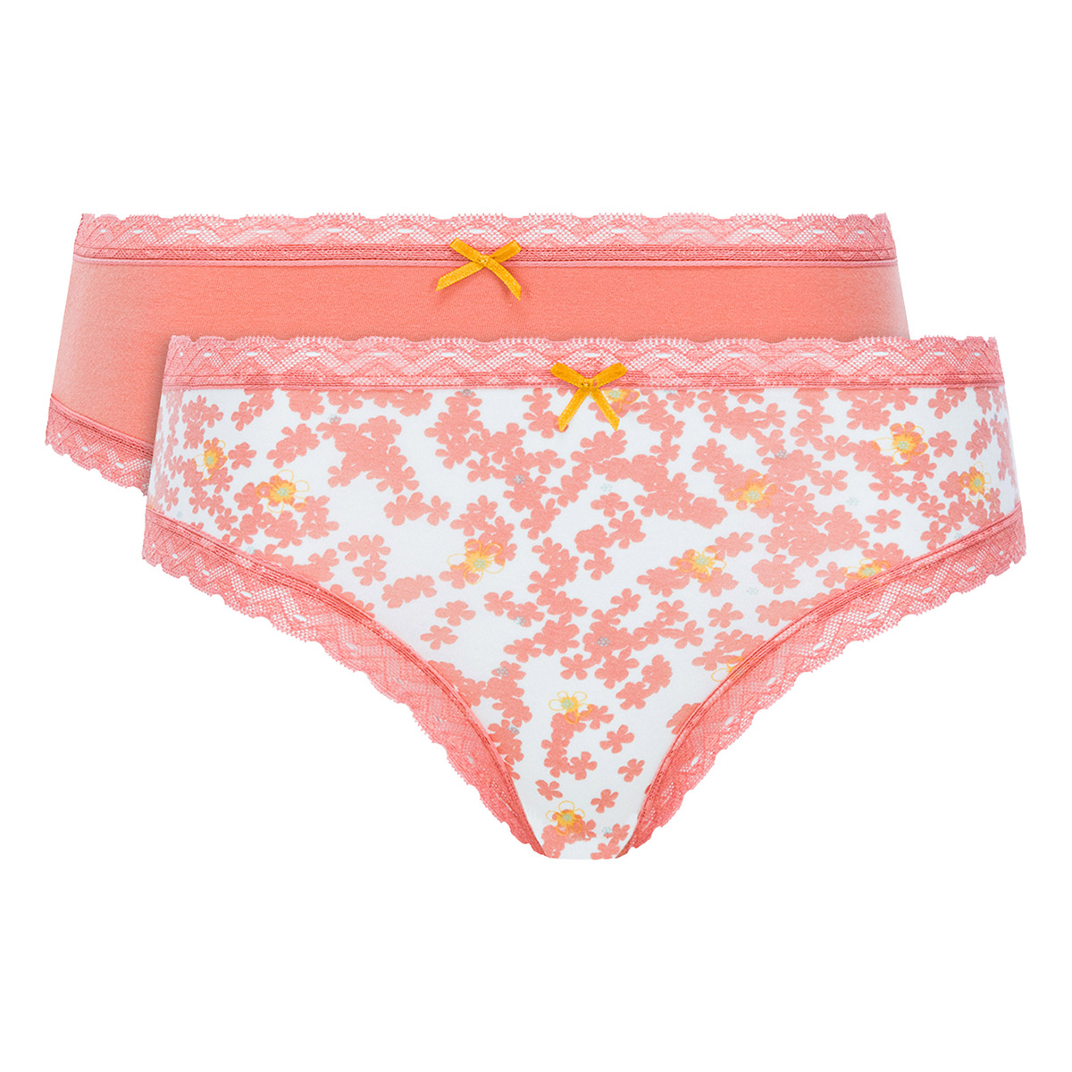 Pacco da 2 mutande in cotone arancione uniforme e stampato - Cotton Fancy - PLAYTEX