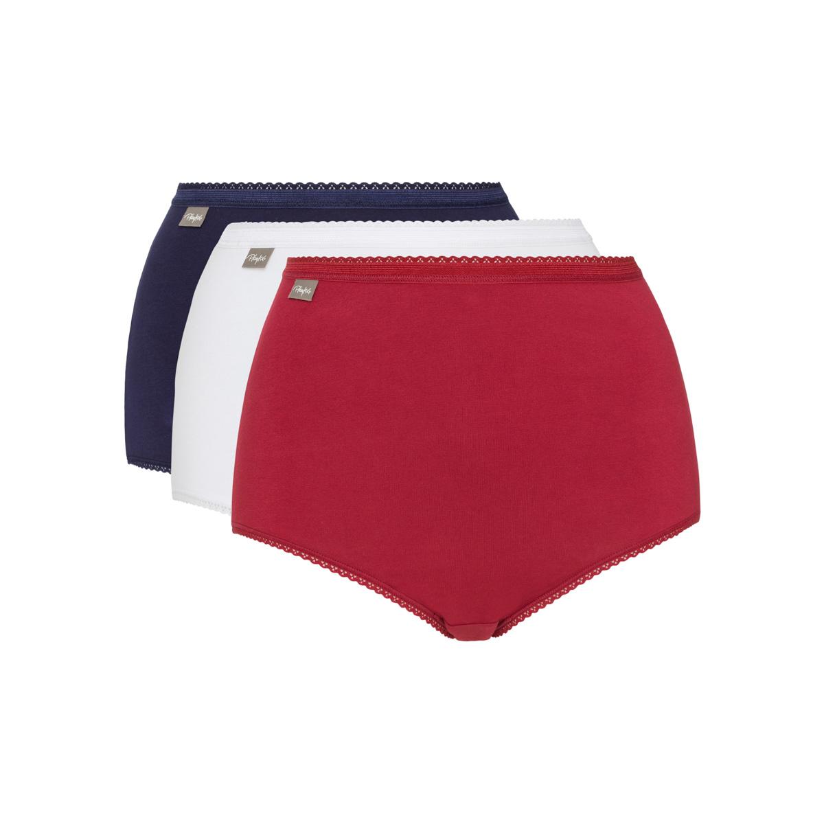 Pacco da 3 Slip vita alta in cotone rosso carminio, blu marino e bianco Cotone Elasticizzato, , PLAYTEX