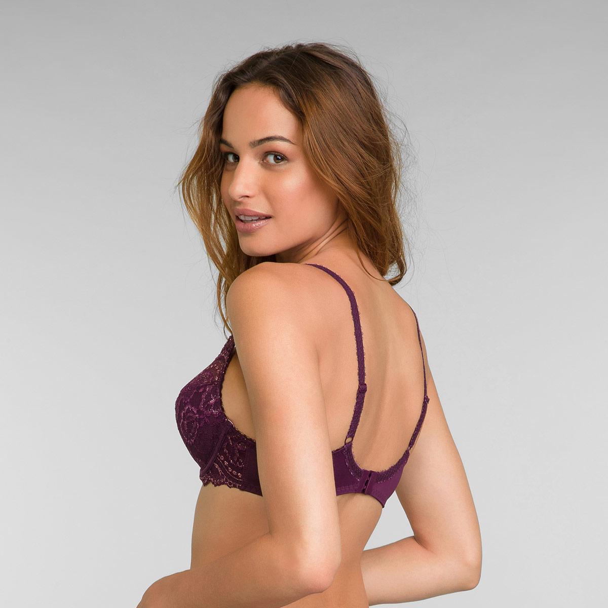 Reggiseno modellante con ferretto viola e oro Flowery Lace, , PLAYTEX