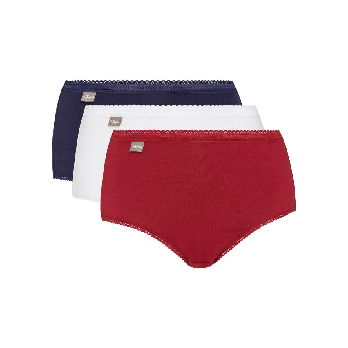 Pacco da 3 Slip Midi in cotone rosso carminio, blu marino e bianco Cotone Elasticizzato, , PLAYTEX
