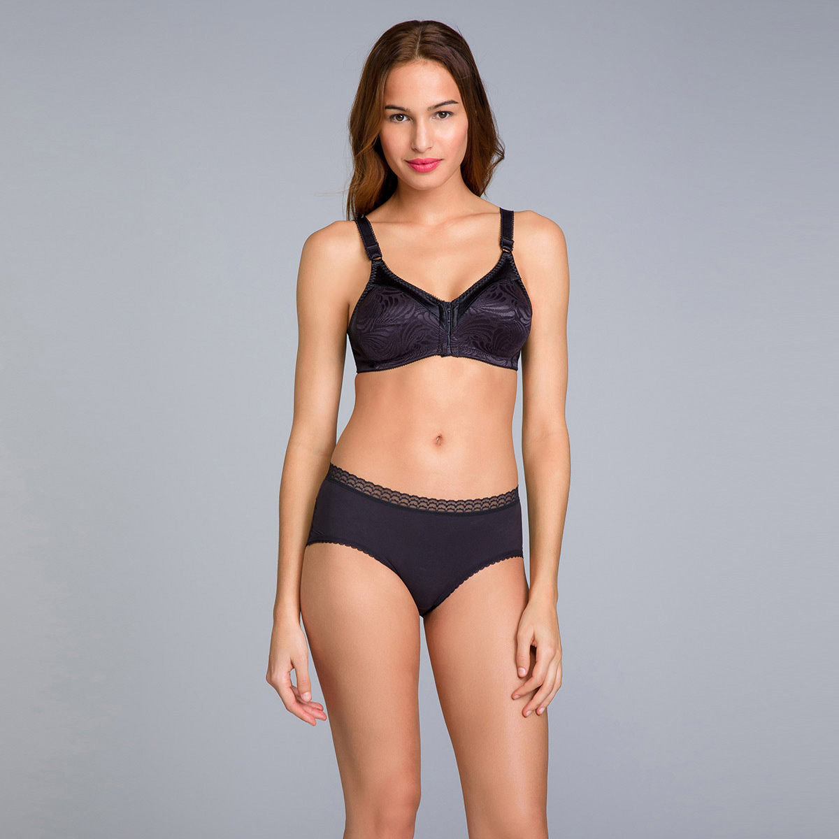 Reggiseno senza ferretto aperto davanti nero - Double Support, , PLAYTEX