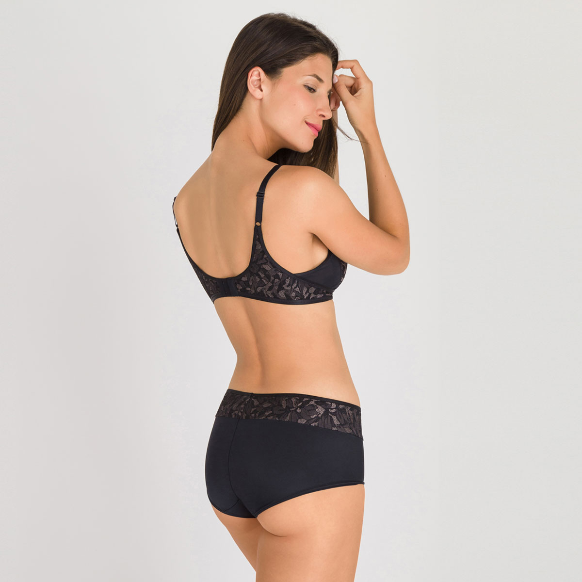 Reggiseno senza ferretto nero e grigio - Ideal Beauty Lace, , PLAYTEX