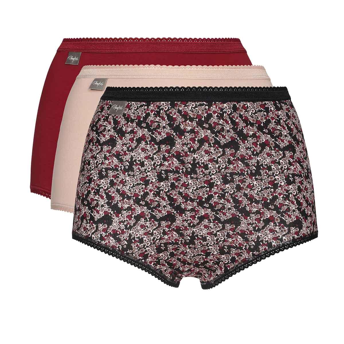 Pacco da 3 slip vita alta rosso, beige e stampa floreale Cotton Stretch, , PLAYTEX