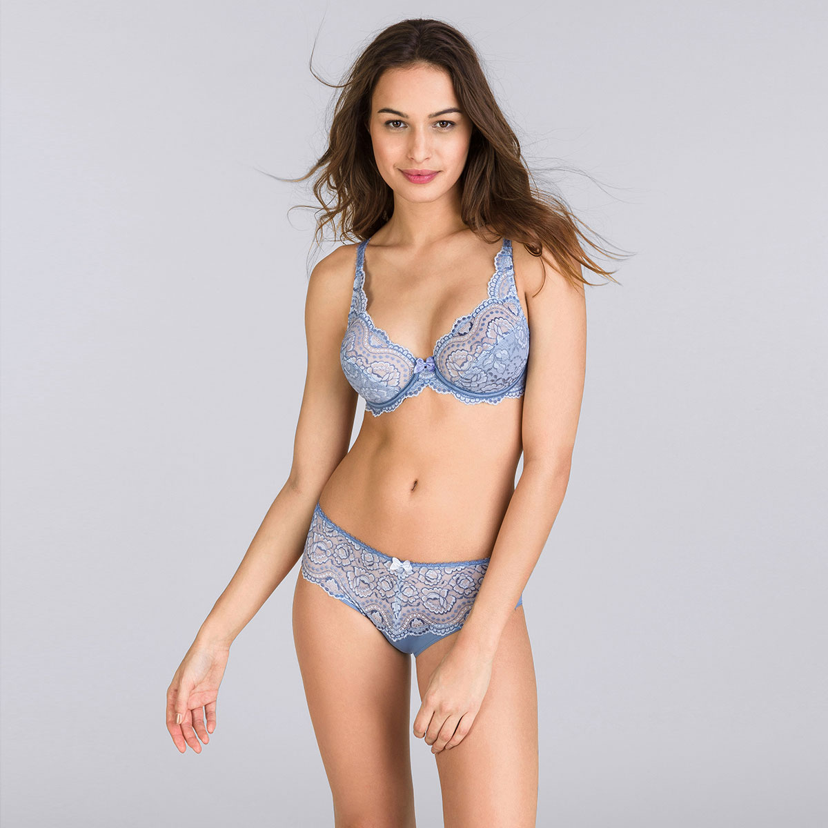 Soutien-gorge emboîtant bleu jean bicolore - Flower Elegance-PLAYTEX